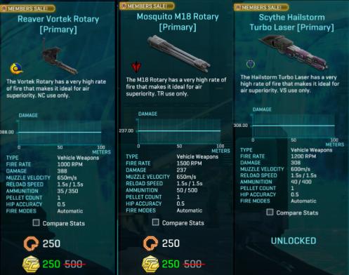 Planetside2 Member Deal – Reaver Vortek Rotary, Mosquito M18